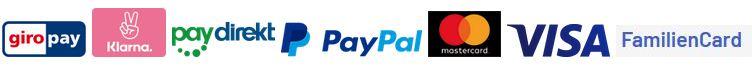 Unsere Zahlungsmethoden giropay, Klarna, paydirekt, Paypal, Mastercard, Visa, Familiencard